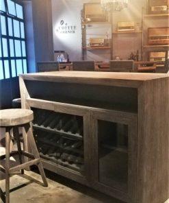 Gezandstraald Grijze Acacia Houten Bar Tafel / Kast-1