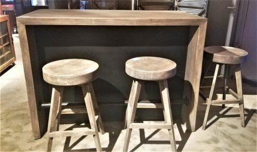 Gezandstraald Grijze Acacia Houten Bar Tafel / Kast-5