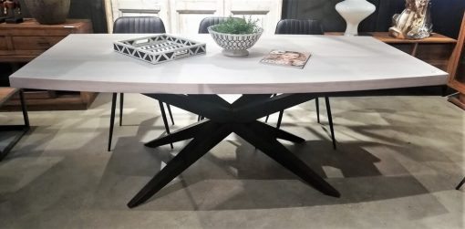 Sleek White Acacia Table With Metal Leg-1