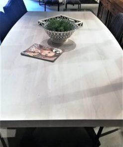 Sleek White Acacia Table With Metal Leg-3