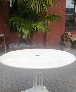 Weißer runder Eisen-Bistrotisch-1