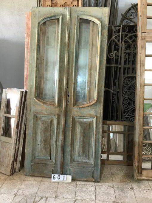 Antike Doppeltüren mit poliertem Glas-1