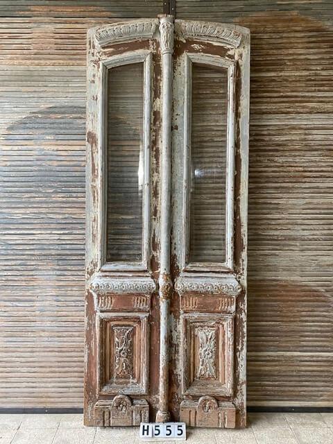 Antike Eingangstür mit poliertem Glas-1